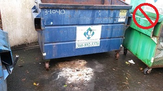 leaking dumpster without lid causing pollution